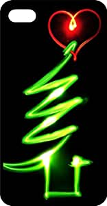 Neon Green Christmas Tree Black Rubber Case for Apple iPhone 5 or iPhone 5s