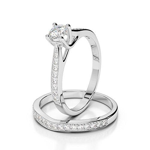 Or blanc 18carats 0.79CT G-H/VS sertie de diamants Coupe ronde de mariage Bague de fiançailles et ensemble de Agdr-2053