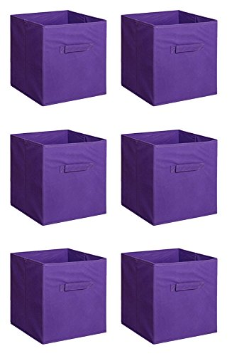6 PCS New Home Storage Bins Organizer Fabric Cube Boxes Basket Drawer Container (purple) from Unknown