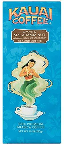 Kauai Ground Coffee, Mocha Macadamia Nut – 100% Premium Ground Arabica Coffee from Hawaii's Largest Coffee Grower – Savory Aroma, 10 Ounces