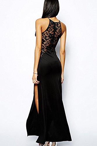 Maxi Robe Bodycon Manches lgante C Lace Black Fendue La Sans Femme Robe Patchwork t Bal UpqPP7