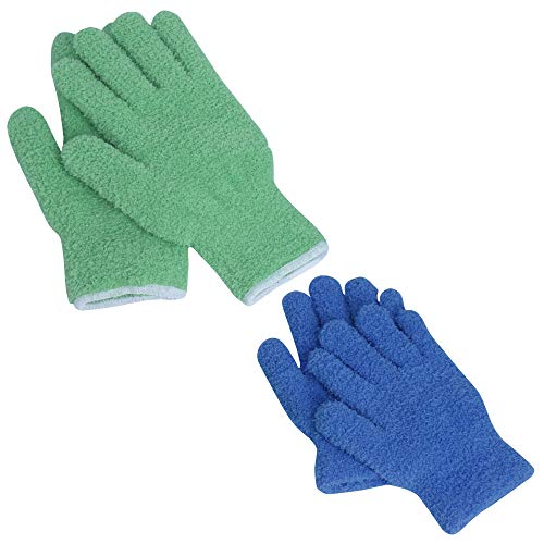EvridWear Microfiber Dust Cleaning Gloves for House Cleaning, Perfect to Clean Mirrors, Lamps and Blinds. Auto Dusting Cleaning Gloves for Cars (Multi-Pack, 1 Pair Size L/XL 1 Pair Size S/M)