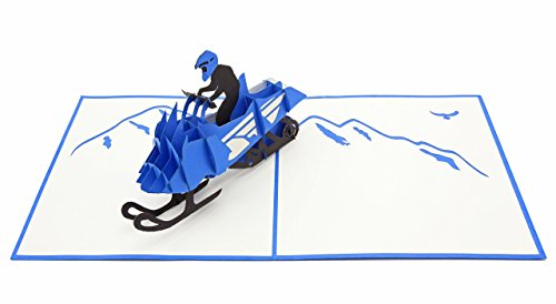 PopLife Snowmobile 3D Pop Up Greeting Card - Winter Sports, Snowmobiling- Folds Flat, Perfect for Mailing - Father's Day, Holiday Party, White Elephant, Christmas Office Gift