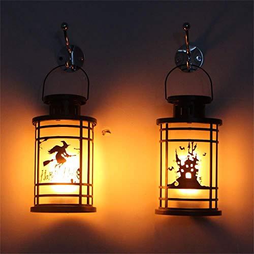 Halloween Decorative Props Portable Vintage Lantern Flame Lamp Halloween Lanterns (Black) -