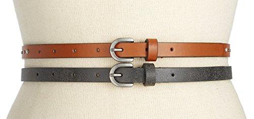 Stud Skinny Belt (Style&co Women's Rhinestone & Stud 2-for-1 Skinny Belts, Black/Cognac (Medium))