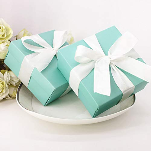 SOMADE Tiffany Blue Candy Boxes Small Square Paper Party Favor Boxes with Ribbons for Holiday Celebration Party Decorations Supplies,Pack of 20 -
