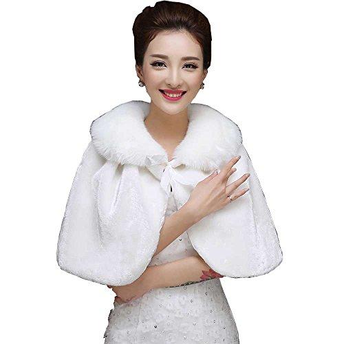WDING Bridal Warm Fur Shawl White Wedding Bolero Wrap Cape Stole Women Coat White One Size by WDING
