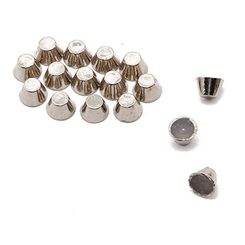 Beadsland Hotfix Iron On, 6mm Flat Back Cone Studs - 1/4 FlatBack Glue on Studs 100pcs (Silver Flat Cone 6mm)