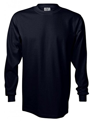 (Enkalda Men's Premium Heavyweight Long Sleeve T-Shirt XL Navy Blue)