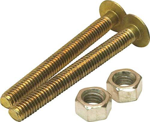 Proplus 2489472 1/4 in. x 2-1/4 in. Solid Brass Round Closet Bolt Pack of - Brass Solid Closet Bolt
