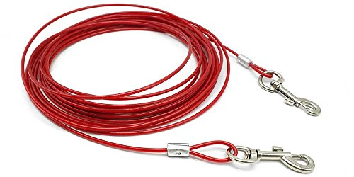 Beirui Premium Red 16' Dog Tie-Out Cable - Heavy Duty Dogs Chain Leashes - Perfect Pets Lead Small & Medium Size