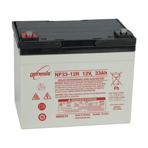 EnerSys Genesis NP33-12B - 12 Volt/33 Amp Hour Sealed Lead Acid Battery with Nut & Bolt Terminal ()