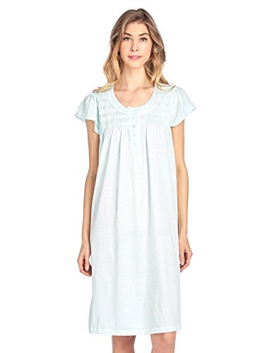 Casual Nights Women's Short Sleeve Smocked Lace Nightgown - Green - 4X-Large by Casual Nights