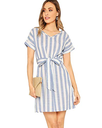 Milumia Women Striped Self Tie V Neck Short Sleeve Colorblock Belted Dress Blue