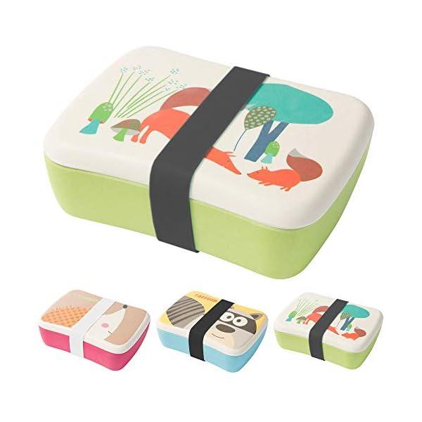 BIOZOYG Bento Lunch Box in bambù per Bambini I Porta Pranzo con Extra Scatola Snack I Scatola Merenda a Motivo - Volpe… 2 spesavip