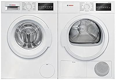 White Front Load Laundry Pair with WAT28400UC 24 Washer and WTG86400UC 24 Electric Dryer