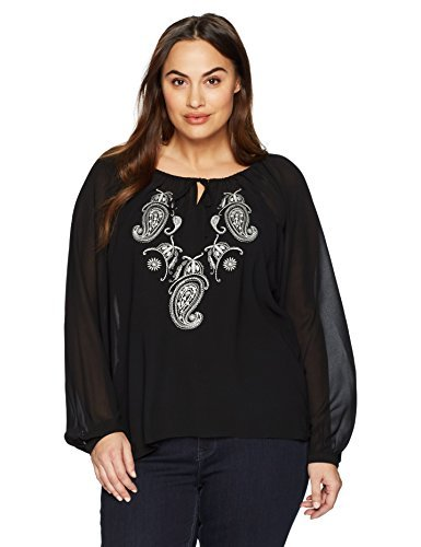 Single Dress Women's Plus-Size Embroidered Long Sleeve Peasant Blouse, Black, 1X