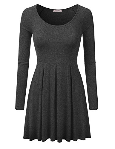 Size Awdsd0689 Flare Neck charcoal Doublju Women Sleeve for Tunic Long Scoop Plus with Top Raglan Dress Xqn6wITOx