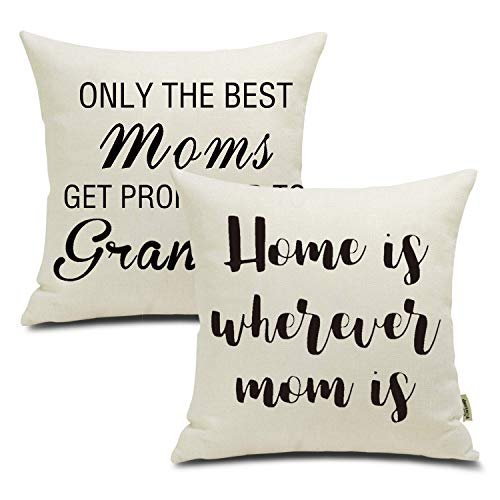 FOOZOUP Mother's Day Throw Pillow Case Cushion Cover Home Decor for Sofa Bed 18 x 18 Inch 2 Pack