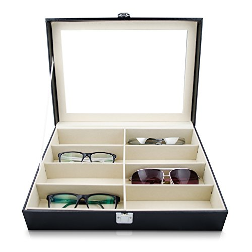 VENKON - Brillenbox für 8 Paar Brillen mit Schaufenster aus Glas für Aufbewahrung & Präsentation - Kunstleder Schwarz - 34 x 25 x 8,5 cm