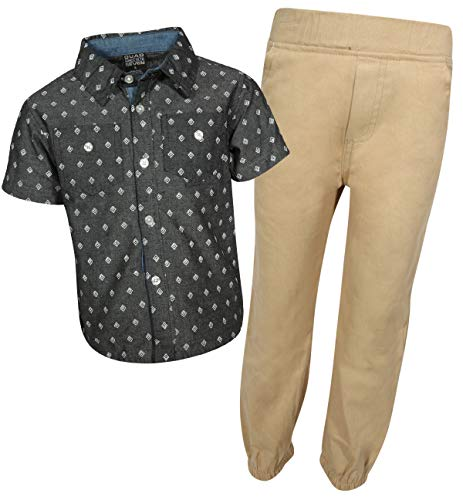 Quad Seven Boys 2-Piece Pant Set (Woven Top and Twill/Denim Bottom) (Black Print/Khaki, ()