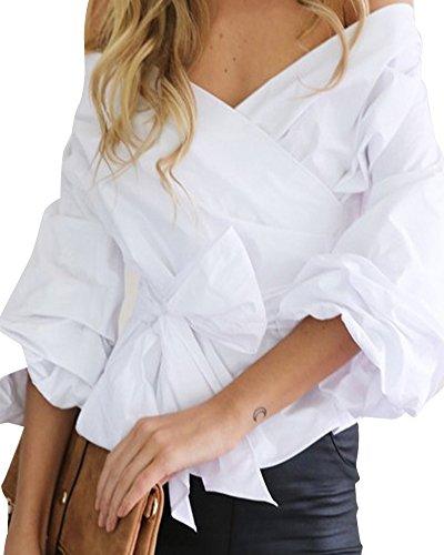 Maglietta Senza Casual Ufficio Scollatura Spalline Cotone Bianco Elegante Zongsen Camicetta Donna 5x8OAO