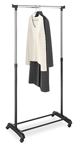 Whitmor Adjustable Garment Rack Black & Chrome with (Short Entertainment Stand)