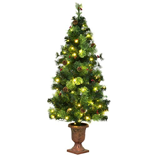 Goplus Christmas Tree Pre-Lit Tabletop Artificial Entrance Tree with Led Lights, Gold Urn Base, Pine Cones and Red Berries (5 FT)