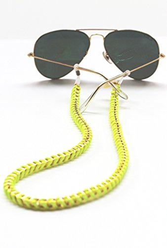 Sintillia Festive Chain Sunglass Strap, Glasses Chain, Eyeglass Cord (Neon Yellow with Clear - Neon Yellow Bans Ray