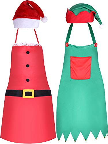 Jovitec 4 Pieces Christmas Party Kits, Include Elf Hat Green Elf Apron and Red Santa Cap Christmas Santa Apron for Christmas Party Costume -