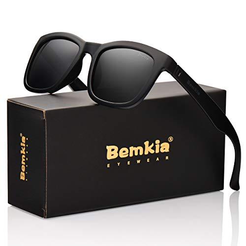 Bemkia Sunglasses Men Women Polarized Outdoor UV 400 54MM (13 Glossy Frame/Black Non-Mirror ()