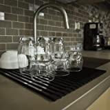 YouTensils Over the Sink Roll Up Dish Drying Rack Matt Black