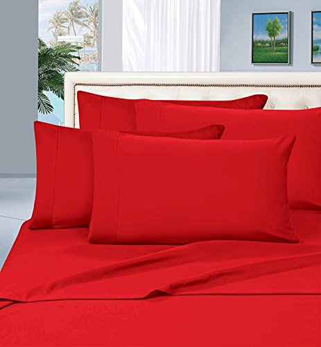 Elegant Comfort Wrinkle Resistant Luxury 6-Piece Bed Sheet Set - 1500 Thread Count Egyptian Quality Silky Soft Sheet Set,Queen, Red