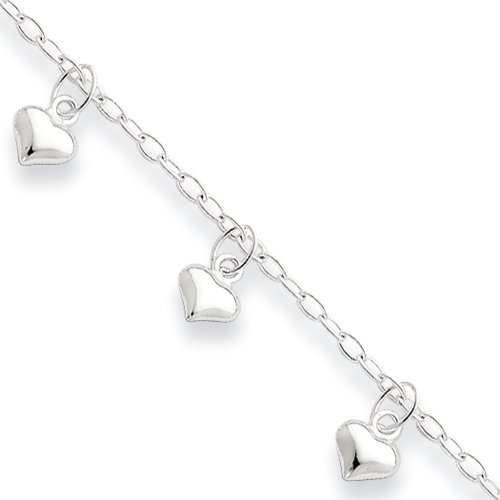 Black Bow Jewelry Sterling Silver 2mm Cable Chain & 6mm Puffed Hearts Anklet, 10 Inch