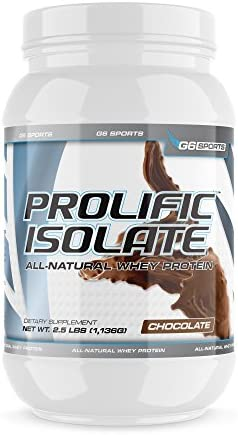 G6 Sports Nutrition Prolific Isolate All Natural Whey Protein Isolate Gluten Free, Lactose Free, Soy Free, Stevia Sweetened, 25g Protein, 100 Calories 2.5lb Jar Chocolate