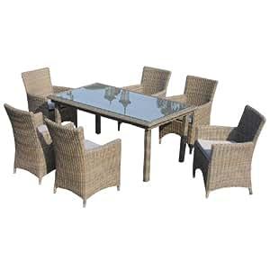 Ambientehome bomey Essgruppe silla apilable apilable Mombasa, Beige, mesa, aprox. 170x 95cm, 7piezas)