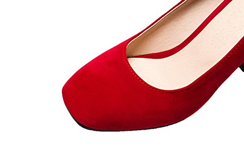 Red on Heels Women's Pull Toe Shoes High Square Closed Pumps Solid WeenFashion PU qCzw7gw