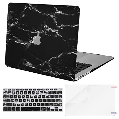 MOSISO Plastic Pattern Hard Shell Case & Keyboard Cover & Screen Protector Compatible with MacBook Air 11 inch (Models: A1370 & A1465), Black Marble