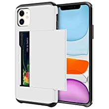 SAMONPOW Wallet Case for iPhone 11 Case with Card Holder Protective Case Dual Layer Shockproof Hard PC Soft Hybrid Rubber Anti Scratch Case for iPhone 11 6.1 inch (White)
