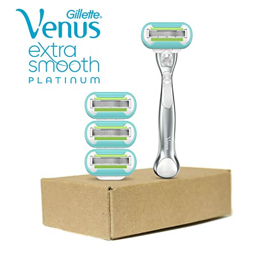 Womens Gillette Venus Refills - Gillette Venus Platinum Extra Smooth Metal Handle Women's Razor - 1 Handle + 4 Refills