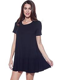 D Womens Loose Flowy Shortslv Crewneck Tunic Dress (S-3X)