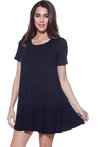 A+D Womens Loose Flowy Shortslv Crewneck Tunic Dress (S-3X) (Black, Large) ()