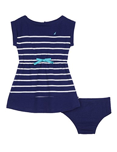 Nautica Baby Girls' Stripe Jersey Dress, Medium Navy, 12 Months