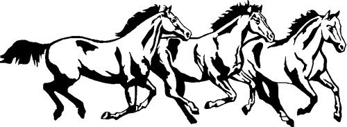 Three Running Horse Decal Outdoor product image