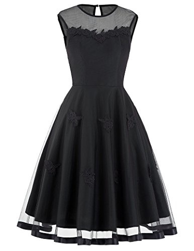 Belle Poque Black Women 50s Cocktail Dress Vintage Style Size S BP112-3 50s Nylon Lace