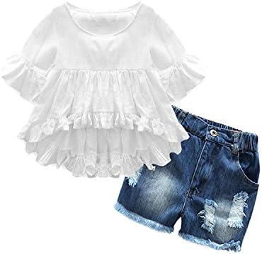Lankey Girl Clothes Little Kids Short Sets Cotton Casual Coat Jeans 2 Pcs Pants Sets