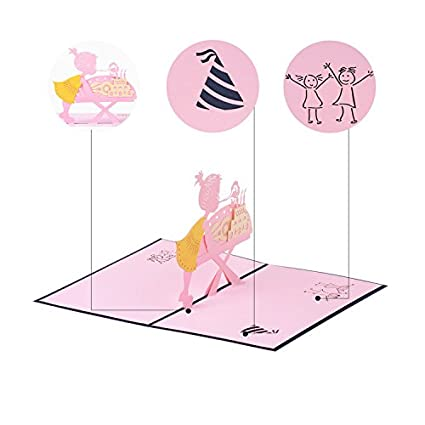 Amazon Jzoeoeu Handmade Pop Up Greeting Cards Cake 3d 18th