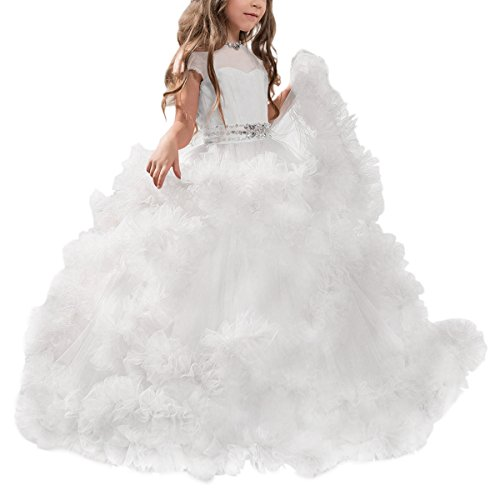Stunning V-Back Luxury Pageant Tulle Ball Gowns for Girls 2-12 Year Old White,Size 4