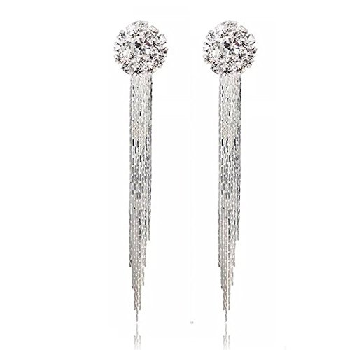 Silver Plated Elegant Generous Crystal Stud Earrings for Women Long Drops Earings (stud earrings)