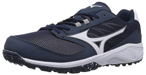 Mizuno Men's Dominant All Surface Low Turf Shoe Baseball, Navy/White 10 D US